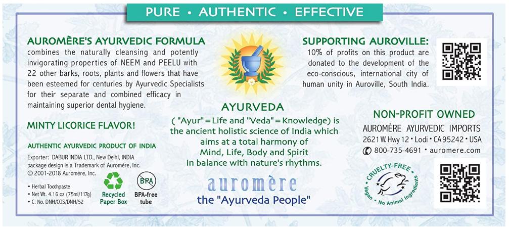 Auromere Ayurvedic Herbal Toothpase, Licorice 4.16oz