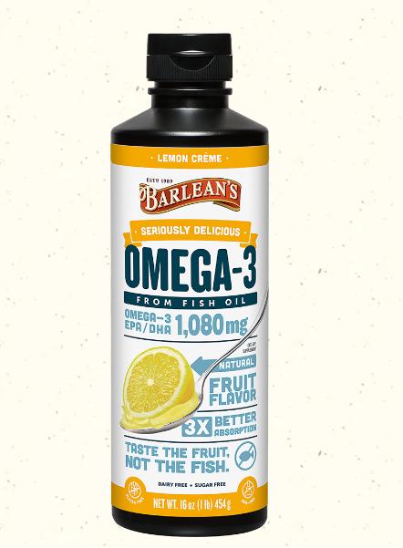 Barlean's Omega Swirl Fish Oil, Lemon Zest 16oz