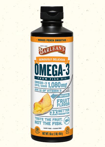 Barlean's Omega Swirl Fish Oil, Mango Peach 16oz