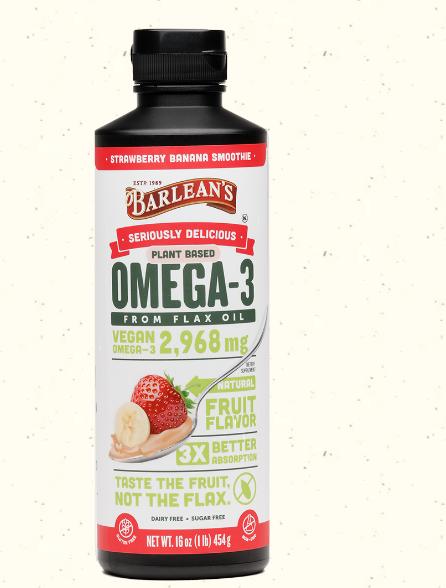 Barlean's Plant Based Total Omega 2,968 mg Strawberry Banana Smoothie 16 oz