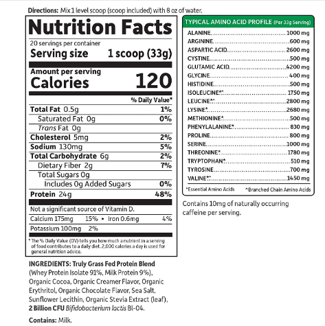Garden of Life Sport Certified Grass-Fed Whey Protein Powder, Chocolate 23.7oz