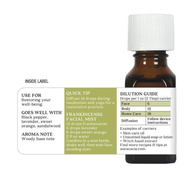 Aura Cacia Essential Oil, Frankincense  0.5oz