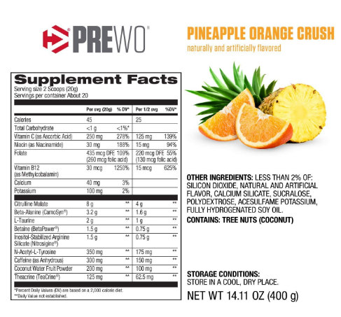 Dymatize PreW.O. Pineapple Orange Crush 14.11oz