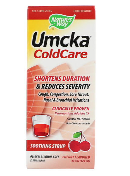 Nature's Way, Umcka, ColdCare, Soothing Syrup, Cherry, 4 fl oz (120 ml)