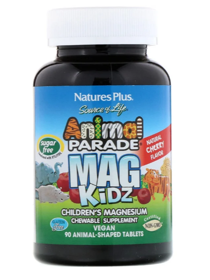 Nature's Plus, Animal Parade, MagKidz, Children's Magnesium, Natural Cherry Flavor, 90 Animal-Shaped Tablets