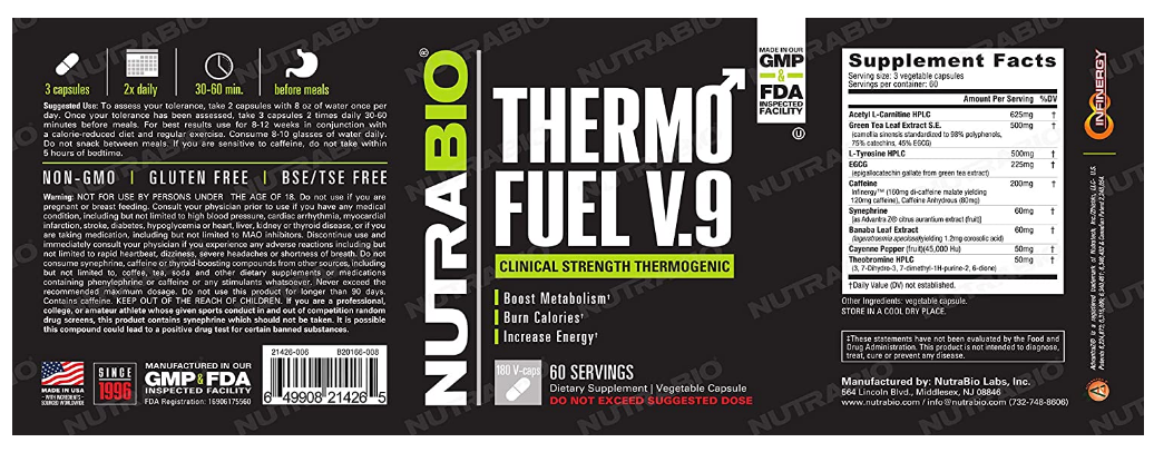 NutraBio Thermo Fuel V.9 60 Servings