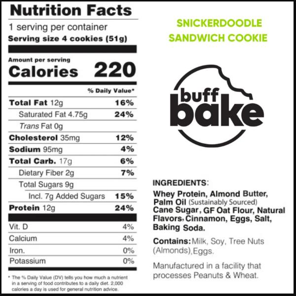 BUFF BAKE Protein Sandwich Cookies, SnickerDoodle