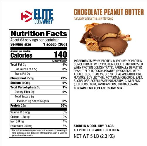 Dymatize Elite Whey Protein Powder, Chocolate Peanut Butter 5LB