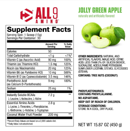 Dymatize All 9 Amino Full Spectrum BCAAs & EAAs, Jolly Green Apple 15.87oz