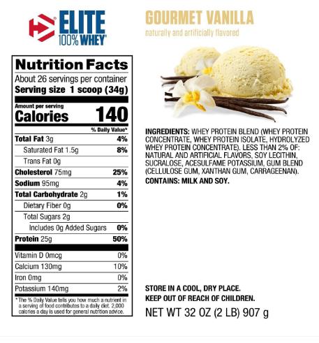 Dymatize Elite Whey Protein Powder, Gourmet Vanilla 2LB