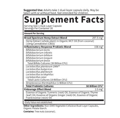 Garden of Life CBD Probiotics Inflammatory Response 50 Billion 30 Capsules