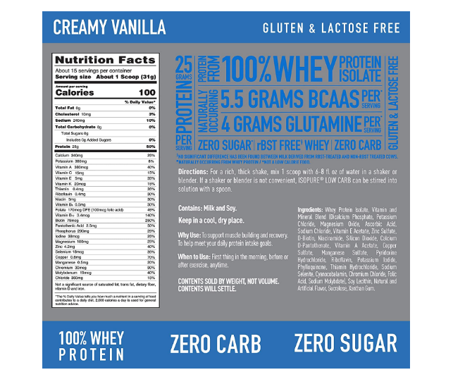 Isopure Zero Low Carb 1 lb creamy vanilla