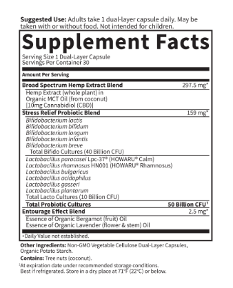 Garden of Life CBD Probiotics Stress Relief 50 Billion 30 Capsules