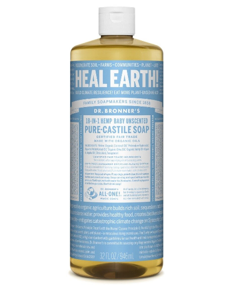 Dr. Bronner's Pure Castile Liquid Soap, Hemp Baby Unscented 32oz