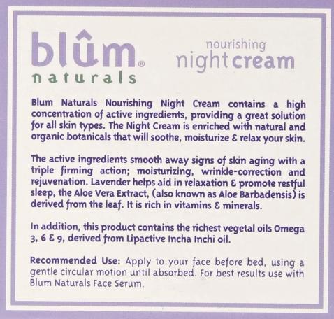 Blum Naturals Nourishing Night Cream, Lavender 1.69oz