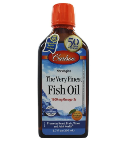 Carlson Norwegian The Very Finest Fish Oil 1,600mg Omega-3s Natural Orange Flavor 6.7oz