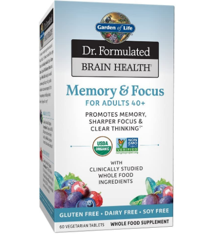 Garden Of Life Organic Memory & Focus For Adults 40+ 60 Vegetarian Tablets