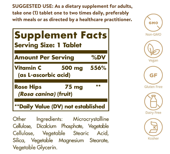 Solgar Vitamin C 500 mg with Rose Hips