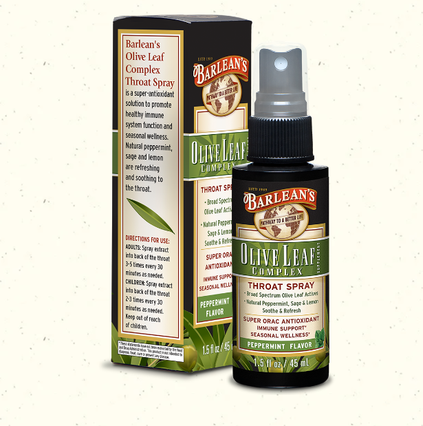 Barlean's Olive Leaf Complex Throat Spray, Peppermint 1.5oz