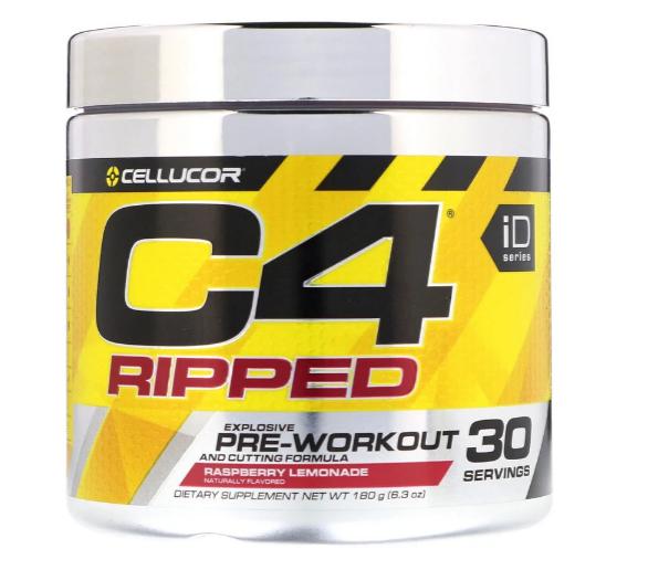 Cellucor C4 Ripped Pre-Workout Powder, Raspberry Lemonade 30 Servings 6.3oz