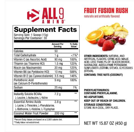 Dymatize All 9 Amino, Fruit Fusion Rush 15.87oz