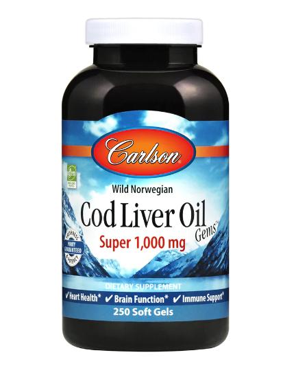 Carlson Wild Norwegian Cod Liver Oil Gem Super 1,000mg 250 Softgels