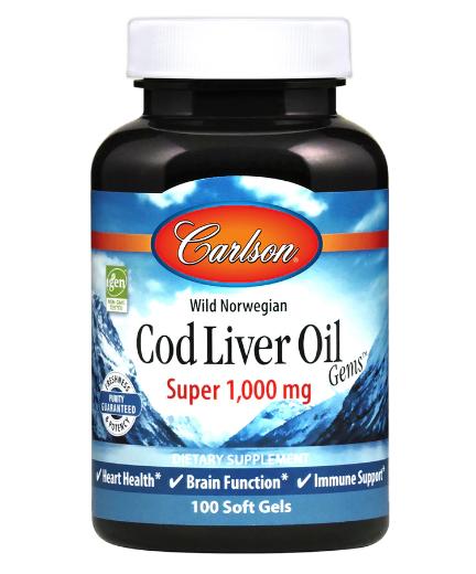 Carlson Wild Norwegian Cod Liver Oil Gems Super 1,000 mg 100 Softgels
