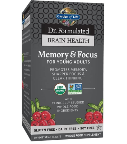 Garden Of Life Organic Memory & Focus For Young Adults 60 Vegetarian Tablets