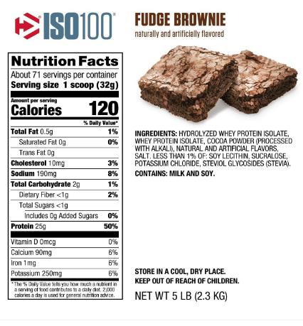 Dymatize ISO100 Protein Powder, Fudge Brownie 5LB
