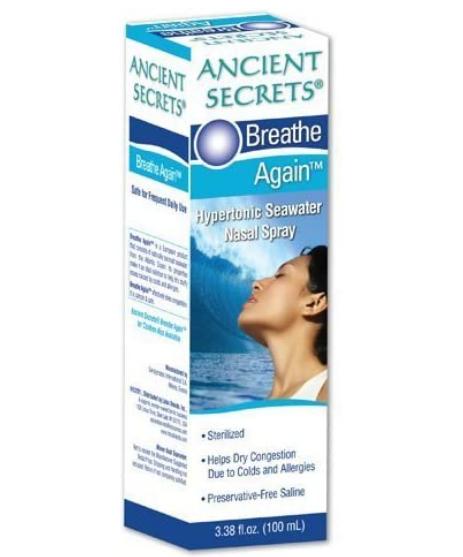 Ancient Secrets Breathe Again Hypertonic Seawater Nasal Spray 3.38oz