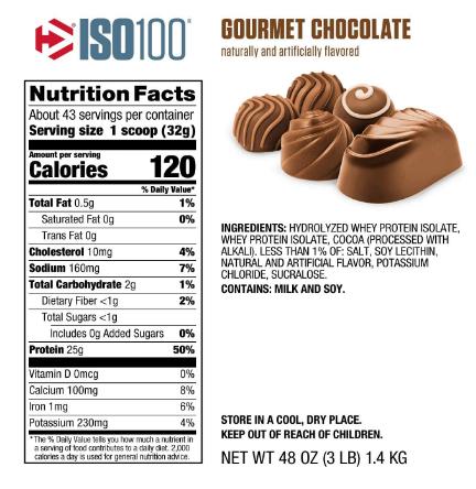 Dymatize ISO100 Protein Powder, Gourmet Chocolate 3LB
