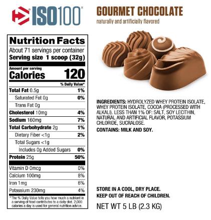 Dymatize ISO100 Protein Powder, Gourmet Chocolate 5LB