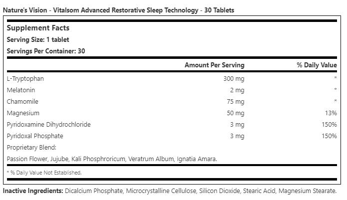 Vitalsom Advanced Restorative Sleep Technology - 30 Tablets