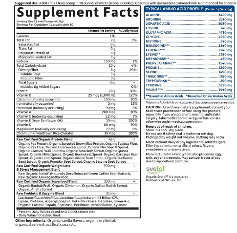Garden of Life Raw Fit Weight Loss Protein Powder, Vanilla 1LB