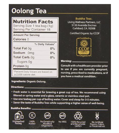Buddha Teas, Oolong Tea