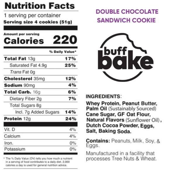BUFF BAKE Protein Sandwich Cookies, Double Chocolate