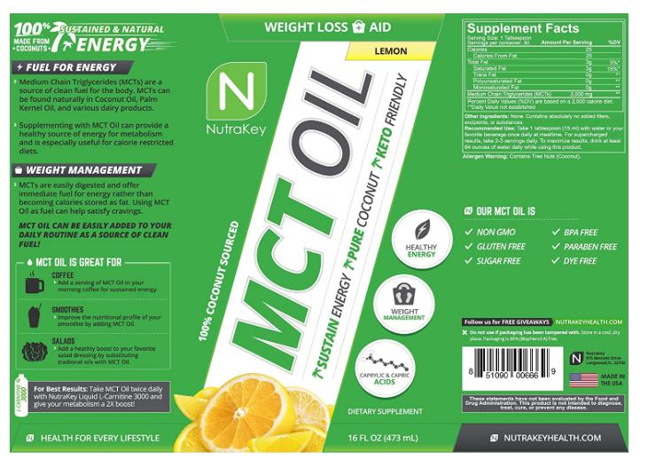 Nutrakey MCT Oil, Lemon 16oz