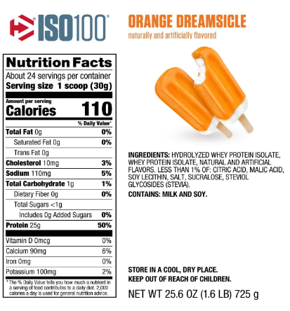 Dymatize ISO100 Protein Powder, Orange Dreamsicle 1.6LB