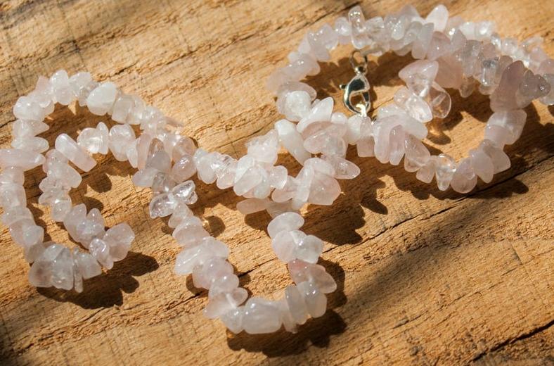 Crystals Rose Quartz large Chips Necklace