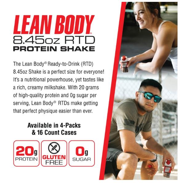 Labrada Lean Body Vanilla Protein Shake 4 Pack