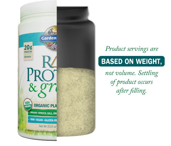 Garden of Life Raw Proteins & Greens Powder, Lightly Sweet No Stevia 23oz