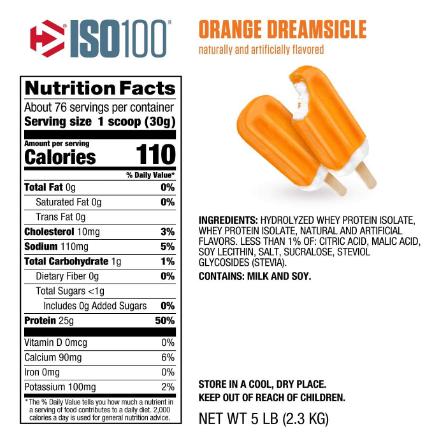 Dymatize ISO100 Protein Powder, Orange Dreamsicle 5LB