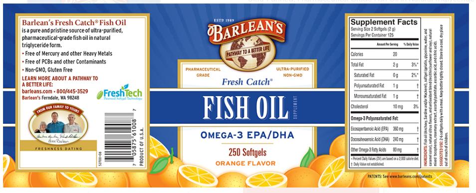 Barlean's Fresh Catch Fish Oil, Orange 250 Softgels
