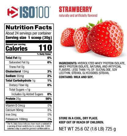 Dymatize ISO100 Protein Powder, Strawberry 1.6LB