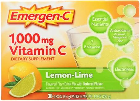 Emergen-C Lemon-Lime 1000 mg 30 Single packs