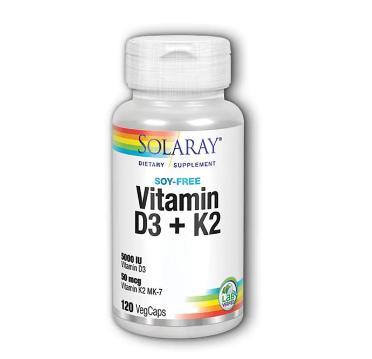 Solaray Vitamin D3+K2 120 Ceg Caps