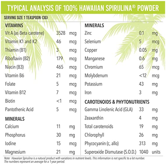 Nutrex Hawaii Spirulina Powder 5.0 Oz