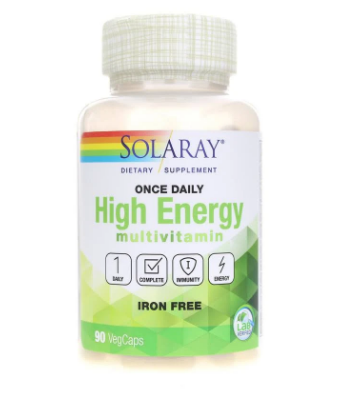 Solaray Once Daily High Energy Iron-Free Multivitamin 90 Capsules
