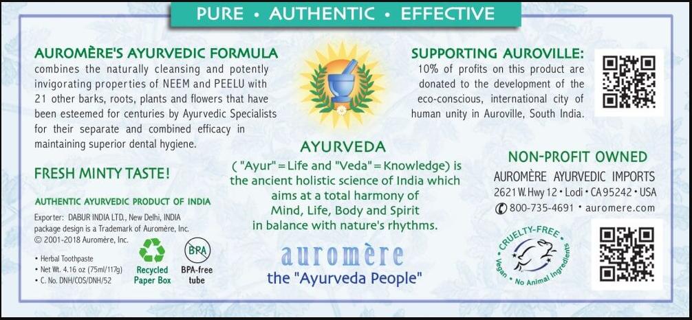 Auromere Ayurvedic Herbal Toothpaste, Foam-Free
