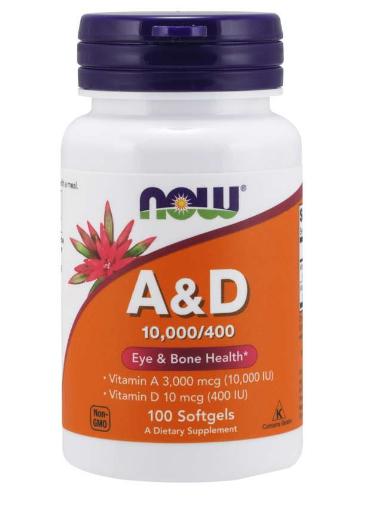 Now Vitamin A&D (10,000/400IU) 100 Softgels